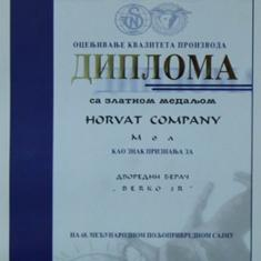 Diploma for quality appraisal of the product - Novi Sad Fair 2001.
